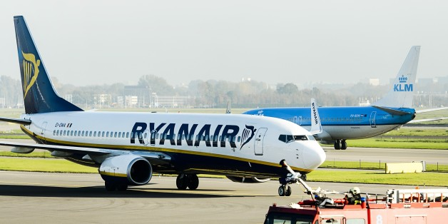 A Ryanair plane arrives at Schiphol Airport in Amsterdam, The Netherlands, on October 27, 2015. Irish low-cost airline Ryanair starts a connection between Amsterdam and Dublin. Schiphol is the 194th airport in the network of Ryanair. AFP PHOTO / ANP / REMKO DE WAAL == NETHERLANDS OUT ==        (Photo credit should read REMKO DE WAAL/AFP/Getty Images)