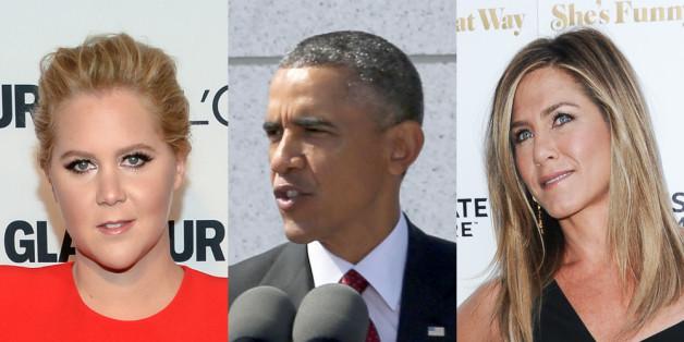 Amy Schumer (l.) und Jennifer Aniston unterstützen Barack Obamas Appell für strengere Waffengesetze