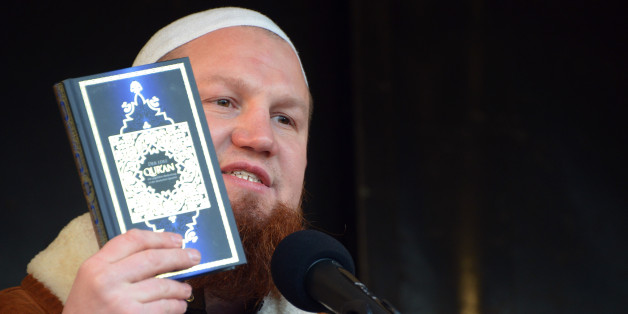 German Islamic preacher Pierre Vogel, also known as Abu Hamza, speaks during a rally of supporters of the Salafist movement on January 18, 2014 in Pforzheim, southwestern Germany.       AFP PHOTO / DPA / ULI DECK / GERMANY OUT        (Photo credit should read ULI DECK/AFP/Getty Images)