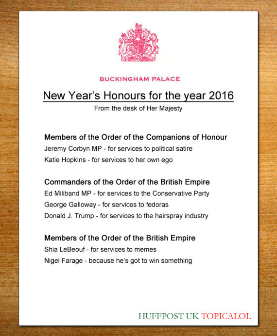 new years honours 2016