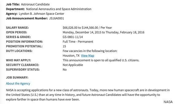 nasa astronaut hire