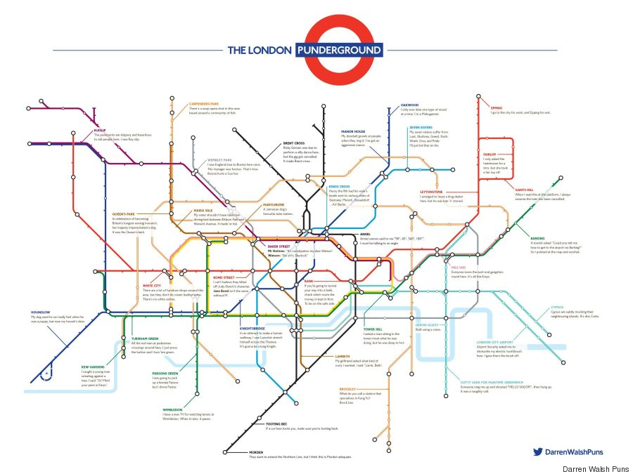 london punderground underground puns pun map