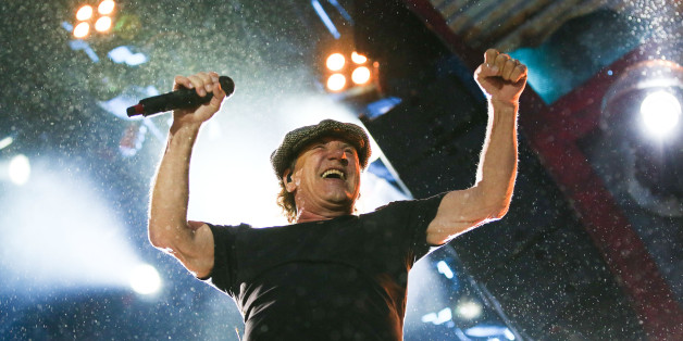 WELLINGTON, NEW ZEALAND - DECEMBER 12:  Lead singer Brian Johnson of AC/DC performs live at Westpac Stadium on December 12, 2015 in Wellington, New Zealand.  (Photo by Hagen Hopkins/Getty Images)