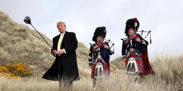 onald Trump visiting the Menie Estate in Aberdeenshire before his golf resort was built