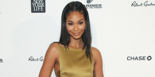Model Chanel Iman in ihrer goldenen Robe