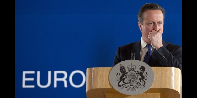 British Prime Minister David Cameron pauses before speaking during a final media conference after an EU summit in Brussels on Friday, June 26, 2015. EU leaders, in a second day of meetings, discussed migration, the Greek bailout and European defense. (AP Photo/Virginia Mayo)