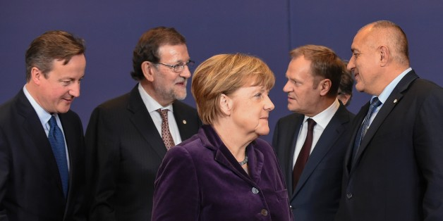 (From L) British Prime minister David Cameron, Spanish Prime Minister Mariano Rajoy, German Chancellor Angela Merkel, European Council President Donald Tusk and Bulgarian Prime Minister Boyko Borisov talk after a family photo during the final European Union (EU) summit of the year at the European Council in Brussels on December 17, 2015.EU leaders will discuss British Prime Minister David Cameron's controversial reform demands as well as plans for a new European border force to deal with the mig