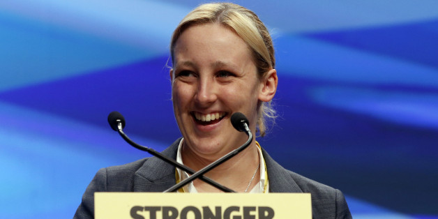 SNP MP Mhairi Black addresses the SNP National conference at Aberdeen Exhibition and Conference Centre in Scotland.