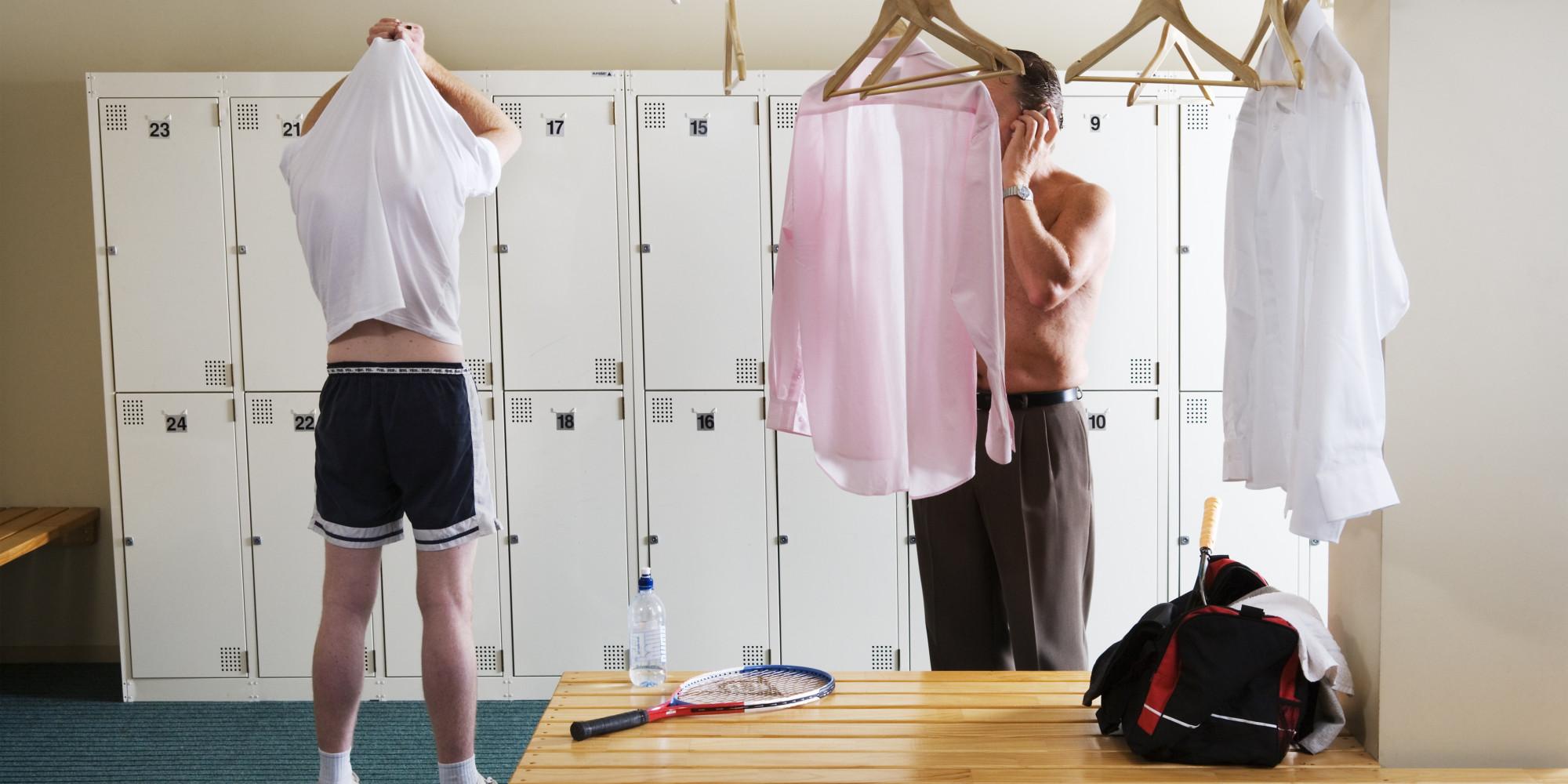 naked male in locker room