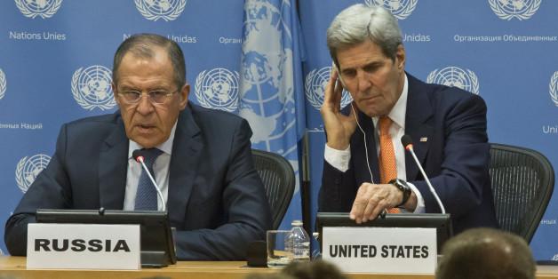 Sergueï Lavrov et John Kerry après la réunion du Conseil de sécurité