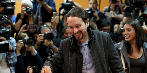 MADRID, SPAIN - DECEMBER 20:  Podemos (We Can) leader Pablo Iglesias casts his vote at a polling station on December 20, 2015 in Madrid, Spain. Spaniards went to the polls today to vote for 350 members of the parliament and 208 senators. For the first time since 1982, the two traditional Spanish political parties, right-wing Partido Popular (People's Party) and centre-left wing Partido Socialista Obrero Espanol PSOE (Spanish Socialist Workers' Party), held a tight election race with two new contenders, Ciudadanos (Citizens) and Podemos (We Can) attracting right-leaning and left-leaning voters respectively.  (Photo by Pablo Blazquez Dominguez/Getty Images)