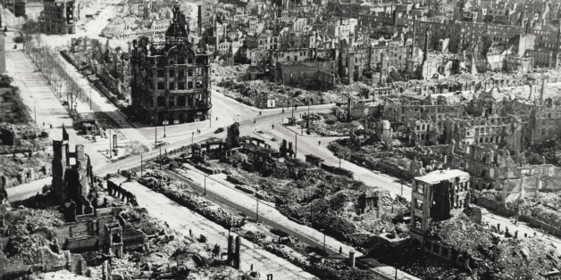 Aerial view of Dresden city centre, the area around Pirnaischer Platz, devastated by the Anglo-American bombing of the 13th and 14th of February 1945; the wreck of the Kaiserpalast, that would be pulled down in 1951, is still standing. Dresden (Germany), June 1945. (Photo by Mondadori Portfolio via Getty Images)