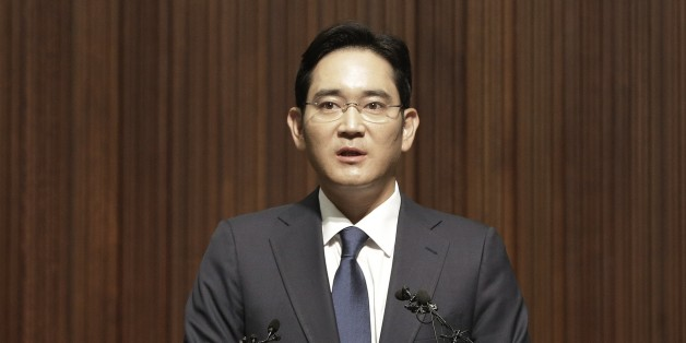 Lee Jae-yong, vice president of Samsung Electronics Co., speaks during a press conference at the company's headquarters in Seoul, South Korea, Tuesday, June 23, 2015. Lee apologized to the Middle East Respiratory Syndrome (MERS) victims and patients in his speech as criticism mounts on Samsung Medical Center for its role in spreading the MERS. (AP Photo/Ahn Young-joon)