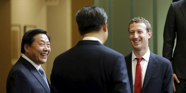 "Mark Zuckerberg, en compagnie du président chinois Xi Jinping et du ""cybertsar"" Lu Wei à Seattle."