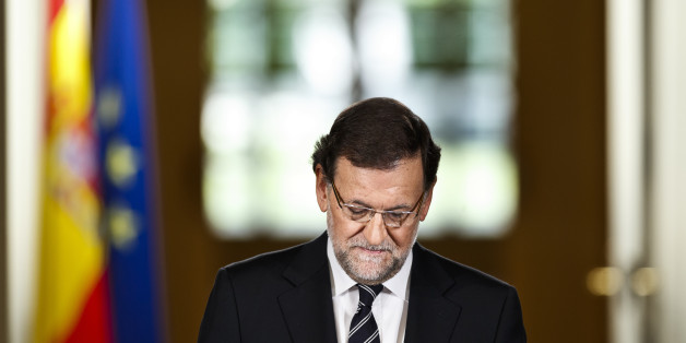 Spain's Prime Minister Mariano Rajoy delivers a statement in the Moncloa Palace, Madrid, Spain, Monday, June 2, 2014. Spanish Prime Minister Mariano Rajoy announced in the press conference that King Juan Carlos plans to abdicate and pave the way for his son, Crown Prince Felipe, to become the country's next king. The 76-year-old Juan Carlos oversaw his country's transition from dictatorship to democracy but has had repeated health problems in recent years. His popularity also dipped following royal scandals, including an elephant-shooting trip he took in the middle of Spain's financial crisis that tarnished the monarch's image. The king came to power in 1975, two days after the death of longtime dictator Francisco Franco. (AP Photo/Daniel Ochoa de Olza)
