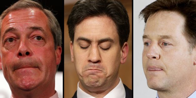 Ukip leader Nigel Farage, Labour leader Ed Miliband and Liberal Democrat leader Nick Clegg react to their defeats in the General Election