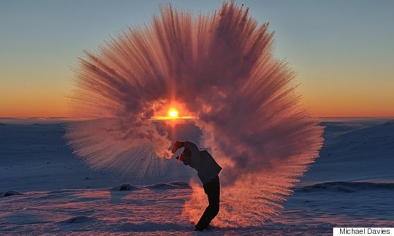 Photographer Creates Stunning Shower Of Ice Crystals After Throwing Hot Tea Into The Air During 40 C Weather