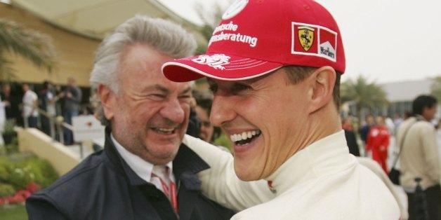 Michael Schumacher mit Ex-Manager Weber, l.