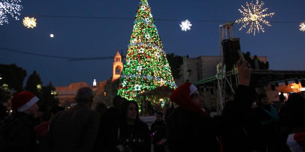 Weihnachtsbaum in Bethlehem im Dezember 2015.