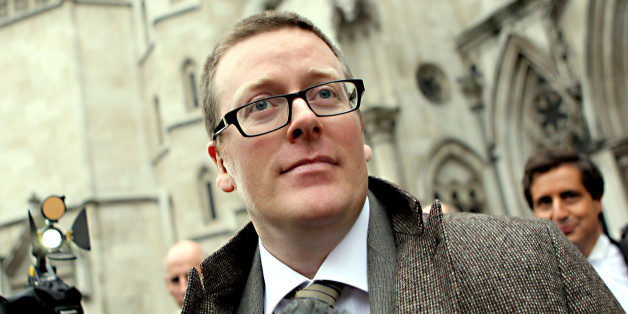 Comedian Frankie Boyle leaves the high Court after winning more than more than 54,000 damages today after a High Court jury concluded that he had been libelled by the Daily Mirror.