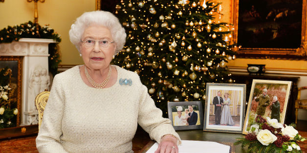 EMBARGOED TO 0001 LOCAL TIME Friday December 25, 2015. Queen Elizabeth II sits at a desk in the 18th Century Room at Buckingham Palace, London, after recording her Christmas Day broadcast to the Commonwealth.