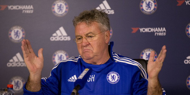 Chelsea's new manager until the end of the season, Guus Hiddink, gives his first press conference since being appointed, at the club's training facilities in Stoke d'Abernon, near London, Wednesday, Dec. 23, 2015.  (AP Photo/Matt Dunham).