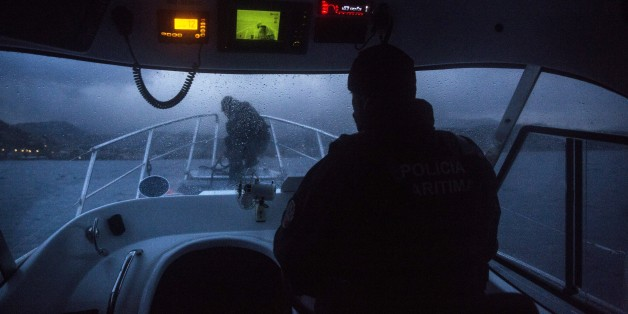 Members of the Frontex, European Border Protection Agency, from Portugal patrol the coast off the northeastern Greek island of Lesbos, Thursday, Nov. 26, 2015. About 5,000 migrants reaching Europe each day over the so-called Balkan migrant route. The refugee crisis is stoking tensions among the countries on the so-called Balkan migrant corridor — Greece, Macedonia, Serbia, Croatia and Slovenia. (AP Photo/Santi Palacios)