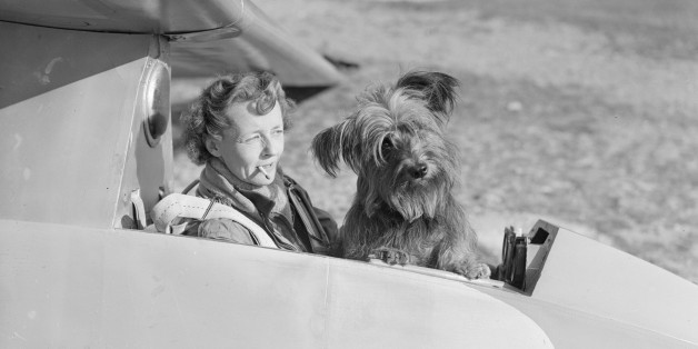 Gliding enthusiast Mrs E E Richardson in the cockpit of a glider with her mascot, a Skye terrier.