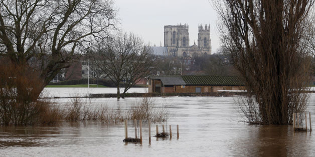 Flood water in the city of York as York Minster is seen in the distance, following the weekend's flooding.