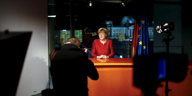 Kanzlerin Angela Merkel bei der Aufzeichnung ihrer Neujahrsansprache