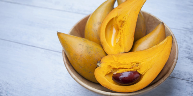 Closeup Eggfruit in wooden bowl