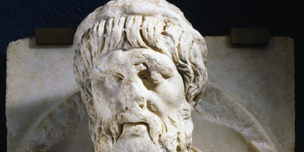 TURKEY - NOVEMBER 15: Marble medallion with a relief of the bust of the Greek mathematician Pythagoras, 6th century BC) from Aphrodisias, Turkey. Roman civilisation, 2nd century. Afrodisia, Museum (Archaeological Museum) (Photo by DeAgostini/Getty Images)