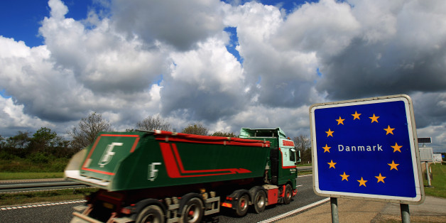 FLENSBURG, GERMANY - MAY 13:  Cars and trucks pass the German-Danish border on May 13, 2011 near Flensburg, Germany. Denmark has introduced border controls at its borders to Germany and Sweden in what it says is a necessary step against organized crime. The move has caused an uproar among liberal MPs in the European Parliament, who claim the unilateral action by Denmark goes against the spirit of pan-European cooperation and is only a political stunt meant to placate conservative voters. Denmark