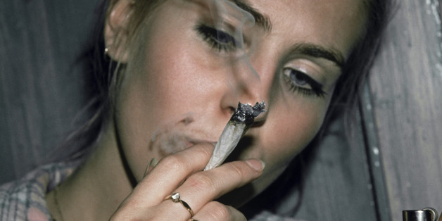 Woman Smoking Marijuana Joint