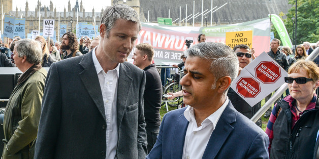 LONDON, ENGLAND - OCTOBER 10:  Conservative Mayoral candidate Zac Goldsmith (L) and Labour Mayoral candidate Sadiq Khan attend a rally against a third runway at Heathrow airport, in Parliament Square on October 10, 2015 in London, England. Before today's rally against a third runway at Heathrow, Parliamentary hearings were announced yesterday to investigate whether the increase in flight traffic will break toxic air limits. (Photo by Chris Ratcliffe/Getty Images)