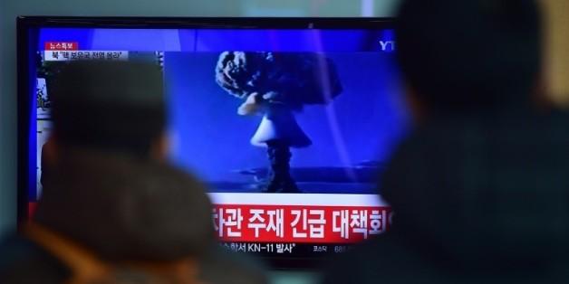 Retransmission télévisée à Séoul de l'essai de bombe à hydrogène annoncé le 6 janvier 2016 par Pyongyang