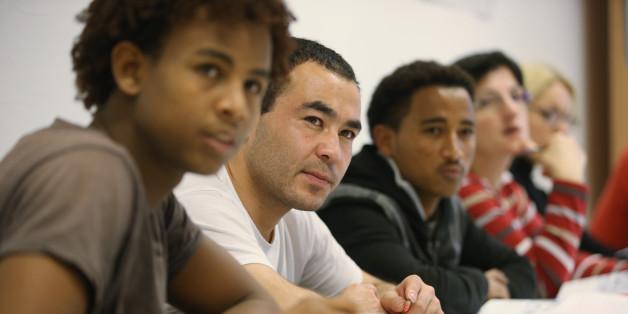Flüchtlinge während des Sprachunterrichts