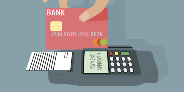 POS terminal transaction concept. Hand swiping a credit card trough terminal. Vector illustration on grey background in flat design