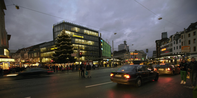 in city at Christmas time