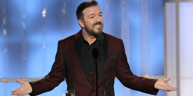 69th ANNUAL GOLDEN GLOBE AWARDS -- Pictured: Host Ricky Gervais on stage during the 69th Annual Golden Globe Awards held at the Beverly Hilton Hotel on January 15, 2012 -- (Photo by: Paul Drinkwater/NBC/NBCU Photo Bank via Getty Images)