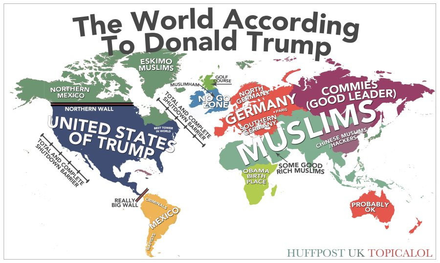 Of the world according to donald trump map of the world according to donald trump gumiabroncs Image collections