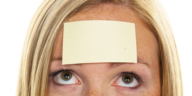 (GERMANY OUT) woman with a notepad on her forehead - 11.08.2011  (Photo by Wodicka/ullstein bild via Getty Images)