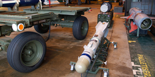A picture shows a Brimstone missile, a rocket-propelled, radar-guided air-launched ground attack weapon designed to be carried by the Tornado jets