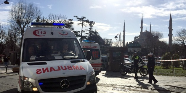 ISTANBUL, TURKEY - JANUARY 12: Ambulances gather around Sultanahmet tourist district after an explosion in Istanbul, Turkey on January 12, 2016. Turkish police have sealed off central Istanbul square in historic Sultanahmet district after the explosion was heard. Ambulances raced to the scene in the minutes after the explosion.