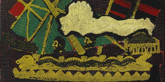 Κάτι από την παράδοση, κάτι από τη μνήμη μου, κάτι από τα παραμύθια…, 2015,   ακρυλικό σε κόντρα πλακέ, 50 x 70 εκ.