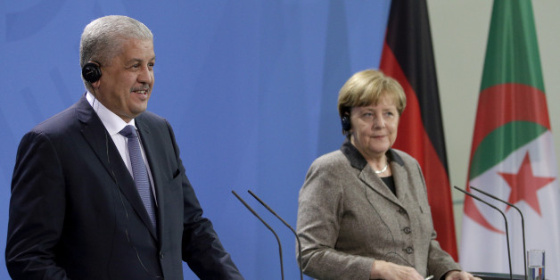 German Chancellor Angela Merkel, right, and the Prime Minister of Algeria Abdelmalek Sellal, left, address the media during a joint press conference as part of a meeting at the chancellery in Berlin, Germany, Tuesday, Jan. 12, 2016. (AP Photo/Michael Sohn)