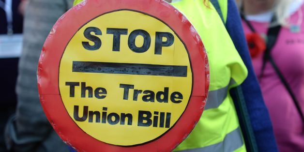 TUC members queue outside the Houses of Parliament to lobby against the Trade Union Bill, London.