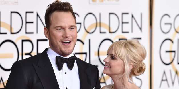 Chris Pratt, left, and Anna Faris arrive at the 72nd annual Golden Globe Awards at the Beverly Hilton Hotel on Sunday, Jan. 11, 2015, in Beverly Hills, Calif. (Photo by John Shearer/Invision/AP)