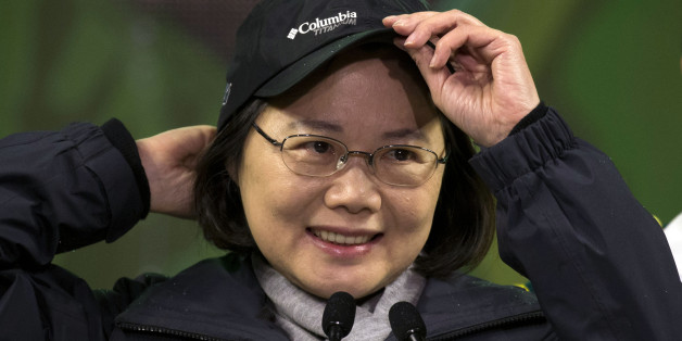 Taiwan's Democratic Progressive Party presidential candidate Tsai Ing-wen attends a rally before polling day in Banqiao district of Taipei, Taiwan, Friday, Jan. 15, 2016. Taiwan will hold its presidential election on Jan. 16, 2016. (AP Photo/Ng Han Guan)