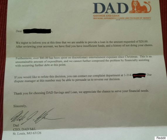 dad bank letter six year old s allowance denied in hilarious way